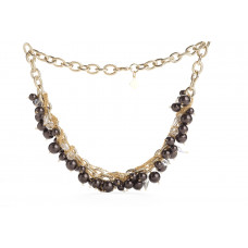 Jimmy Crystal Pearl Necklace NJ079 DEEP BROWN