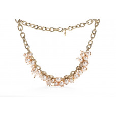 Jimmy Crystal Pearl Necklace NJ079 PEACH