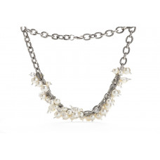 Jimmy Crystal Pearl Necklace NJ079 WHITE